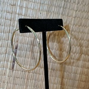 "Earrings NEW without tags Gold Plated 2"" Hoops"